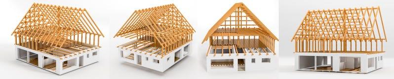 τρισδιάστατο σπίτι σχεδίων απόδοσης ατελές Στοκ Εικόνα