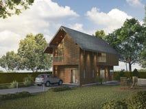 τρισδιάστατο σπίτι τούβλου απόδοσης όμορφο ελαφρύ υπαίθριο Στοκ φωτογραφία με δικαίωμα ελεύθερης χρήσης