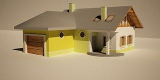 τρισδιάστατο σπίτι Στοκ Εικόνες