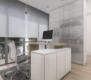 τρισδιάστατο συμπαθητικό λειτουργώντας δωμάτιο απόδοσης με τον υπολογιστή και χτισμένος στο ράφι βιβλίων Στοκ Φωτογραφία