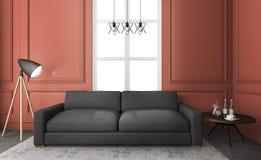 τρισδιάστατο συμπαθητικό κόκκινο καθιστικό απόδοσης με τον άνετο καναπέ Στοκ εικόνες με δικαίωμα ελεύθερης χρήσης