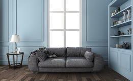 τρισδιάστατο συμπαθητικό μπλε καθιστικό απόδοσης με τα έπιπλα και τις διακοσμήσεις Στοκ Φωτογραφία