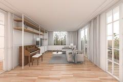 τρισδιάστατο συμπαθητικό ξύλινο καθιστικό απόδοσης με τα συμπαθητικά έπιπλα στο άσπρο σπίτι Στοκ εικόνα με δικαίωμα ελεύθερης χρήσης