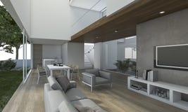 τρισδιάστατο συμπαθητικό ξύλινο καθιστικό απόδοσης με τη διακόσμηση Στοκ φωτογραφία με δικαίωμα ελεύθερης χρήσης