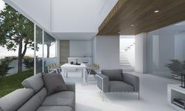 τρισδιάστατο συμπαθητικό ξύλινο καθιστικό απόδοσης με τον καναπέ και τη διακόσμηση Στοκ Φωτογραφίες