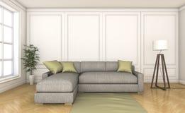 τρισδιάστατο συμπαθητικό ξύλινο πάτωμα απόδοσης με τον γκρίζο καναπέ Στοκ φωτογραφία με δικαίωμα ελεύθερης χρήσης