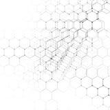 Τρισδιάστατο σχέδιο χημείας, εξαγωνική δομή μορίων στην άσπρη, επιστημονική ιατρική έρευνα Στοκ Εικόνες