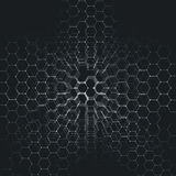 Τρισδιάστατο σχέδιο χημείας, εξαγωνική δομή μορίων στη μαύρη, επιστημονική ιατρική έρευνα ελεύθερη απεικόνιση δικαιώματος