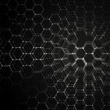 Τρισδιάστατο σχέδιο χημείας, εξαγωνική δομή μορίων στη μαύρη, επιστημονική ιατρική έρευνα Ιατρική, επιστήμη και Στοκ φωτογραφία με δικαίωμα ελεύθερης χρήσης