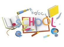 τρισδιάστατο σχολείο απεικόνισης Στοκ Εικόνα