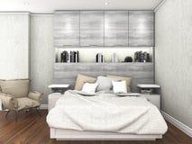 τρισδιάστατο σύγχρονο ξύλινο πάτωμα απόδοσης με με το φως της ημέρας μέσα στην κρεβατοκάμαρα Στοκ Εικόνες