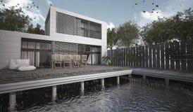 τρισδιάστατο σύγχρονο σπίτι απόδοσης με το πεζούλι στην ημέρα Στοκ φωτογραφία με δικαίωμα ελεύθερης χρήσης