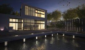 τρισδιάστατο σύγχρονο σπίτι απόδοσης με το πεζούλι τη νύχτα Στοκ Εικόνες
