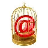 τρισδιάστατο σύμβολο διευθύνσεων ηλεκτρονικού ταχυδρομείου σε ένα birdcage Στοκ εικόνα με δικαίωμα ελεύθερης χρήσης