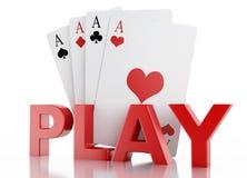 τρισδιάστατο σύνολο καρτών παιχνιδιού Απομονωμένη άσπρη ανασκόπηση Στοκ Εικόνες