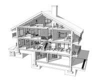 τρισδιάστατο τμήμα ενός εξοχικού σπιτιού Στοκ Εικόνες