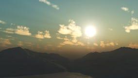 τρισδιάστατο τοπίο βουνών Στοκ Φωτογραφίες