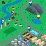 Τρισδιάστατο τοπίο χαρτών κινούμενων σχεδίων Στοκ Εικόνες
