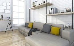 τρισδιάστατο τούβλο απόδοσης εκλεκτής ποιότητας καθιστικό με τη διακόσμηση Στοκ φωτογραφία με δικαίωμα ελεύθερης χρήσης