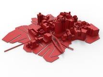 τρισδιάστατο τυπωμένο σχεδιάγραμμα πόλεων διανυσματική απεικόνιση