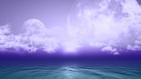 τρισδιάστατο υπόβαθρο με τους πλανήτες και τη θάλασσα απεικόνιση αποθεμάτων
