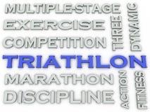 τρισδιάστατο υπόβαθρο σύννεφων λέξης έννοιας ζητημάτων Triathlon εικόνας απεικόνιση αποθεμάτων