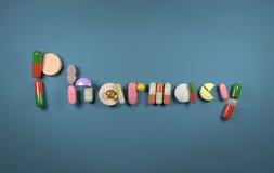 τρισδιάστατο φαρμακείο λέξης που διαμορφώνεται των χαπιών Στοκ Εικόνες