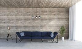 τρισδιάστατο φωτεινό συμπαθητικό καθιστικό απόδοσης με τον καναπέ σοφιτών Στοκ Εικόνες