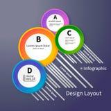 τρισδιάστατο φωτεινό σχεδιάγραμμα κύκλων, infographic, διάνυσμα Στοκ Εικόνα