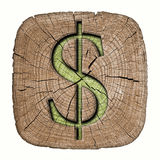 τρισδιάστατο χρήματα σύμβολο απεικόνισης δολαρίων Στοκ Εικόνα