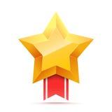 τρισδιάστατο χρυσό αστέρι και κόκκινη κορδέλλα Εικονίδιο νίκης Στοκ Εικόνες