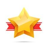 τρισδιάστατο χρυσό αστέρι και κόκκινη κορδέλλα Στοκ Εικόνες