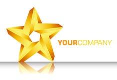 τρισδιάστατο χρυσό αστέρι λογότυπων Στοκ Εικόνες