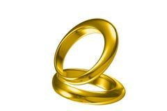 τρισδιάστατο χρυσό γαμήλιο δαχτυλίδι Στοκ εικόνες με δικαίωμα ελεύθερης χρήσης
