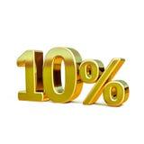 τρισδιάστατο χρυσό σημάδι έκπτωσης 10 δέκα τοις εκατό Στοκ Εικόνα
