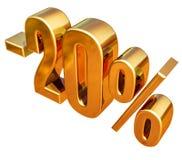 τρισδιάστατο χρυσό σημάδι έκπτωσης 20 είκοσι τοις εκατό Στοκ Εικόνες