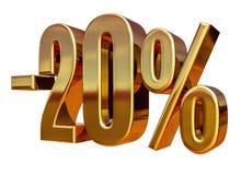 τρισδιάστατο χρυσό σημάδι έκπτωσης 20 είκοσι τοις εκατό Στοκ Φωτογραφία