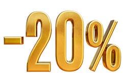τρισδιάστατο χρυσό σημάδι έκπτωσης 20 είκοσι τοις εκατό Στοκ Φωτογραφίες