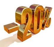 τρισδιάστατο χρυσό σημάδι έκπτωσης 20 είκοσι τοις εκατό Στοκ εικόνες με δικαίωμα ελεύθερης χρήσης