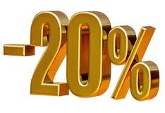 τρισδιάστατο χρυσό σημάδι έκπτωσης 20 είκοσι τοις εκατό Στοκ Εικόνα