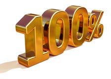 τρισδιάστατο χρυσό 100 σημάδι έκπτωσης εκατό τοις εκατό Στοκ Εικόνα