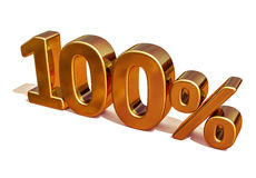 τρισδιάστατο χρυσό 100 σημάδι έκπτωσης εκατό τοις εκατό Στοκ εικόνα με δικαίωμα ελεύθερης χρήσης