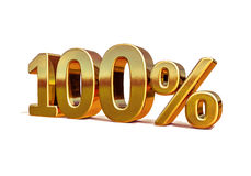 τρισδιάστατο χρυσό 100 σημάδι έκπτωσης εκατό τοις εκατό Στοκ Εικόνες
