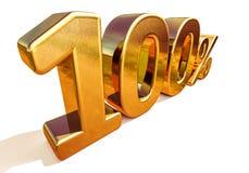τρισδιάστατο χρυσό 100 σημάδι έκπτωσης εκατό τοις εκατό Στοκ Φωτογραφίες