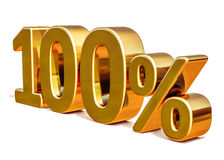τρισδιάστατο χρυσό 100 σημάδι έκπτωσης εκατό τοις εκατό Στοκ φωτογραφία με δικαίωμα ελεύθερης χρήσης