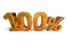 τρισδιάστατο χρυσό 100 σημάδι έκπτωσης εκατό τοις εκατό Στοκ Φωτογραφία