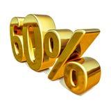 τρισδιάστατο χρυσό σημάδι έκπτωσης 60 εξήντα τοις εκατό Στοκ Φωτογραφίες