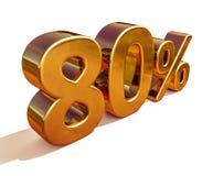 τρισδιάστατο χρυσό σημάδι έκπτωσης 80 ογδόντα τοις εκατό Στοκ Φωτογραφία
