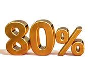 τρισδιάστατο χρυσό σημάδι έκπτωσης 80 ογδόντα τοις εκατό Στοκ Εικόνες