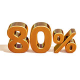 τρισδιάστατο χρυσό σημάδι έκπτωσης 80 ογδόντα τοις εκατό Στοκ φωτογραφίες με δικαίωμα ελεύθερης χρήσης